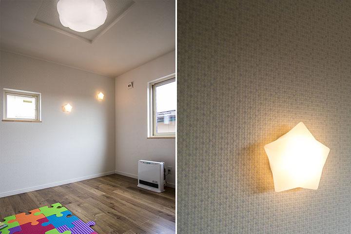 子供部屋の星型照明事例